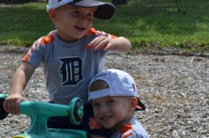 Brothers on playground